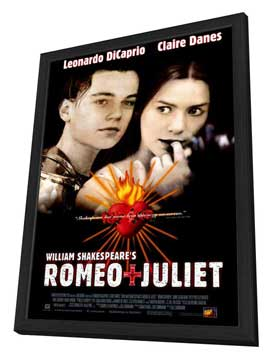 William Shakespeare's Romeo and Juliet - 27 x 40 Movie Poster - Style B - in Deluxe Wood Frame