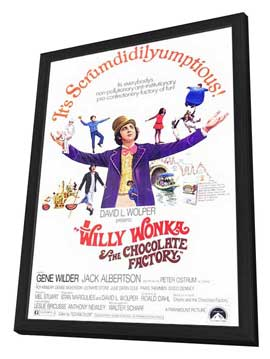 Willy Wonka & the Chocolate Factory - 27 x 40 Movie Poster - Style A - in Deluxe Wood Frame