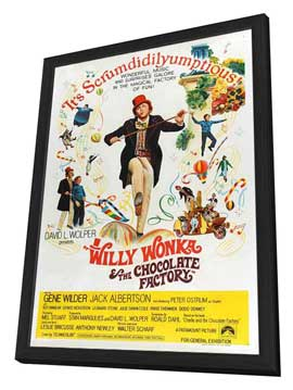 Willy Wonka & the Chocolate Factory - 27 x 40 Movie Poster - Australian Style A - in Deluxe Wood Frame