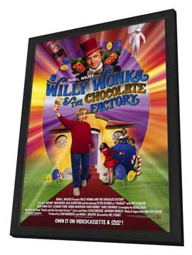 Willy Wonka and the Chocolate Factory - 27 x 40 Movie Poster - Style A - in Deluxe Wood Frame