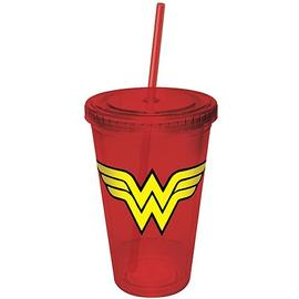 Wonder Woman - Red Plastic Cup with Straw