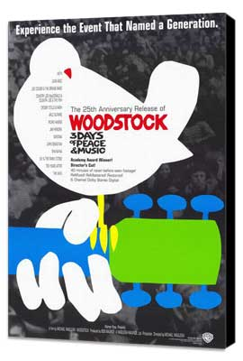 Woodstock - 11 x 17 Movie Poster - Style E - Museum Wrapped Canvas