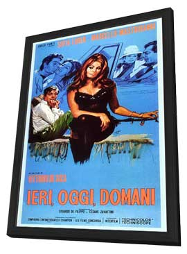 Yesterday, Today and Tomorrow - 27 x 40 Movie Poster - Italian Style A - in Deluxe Wood Frame