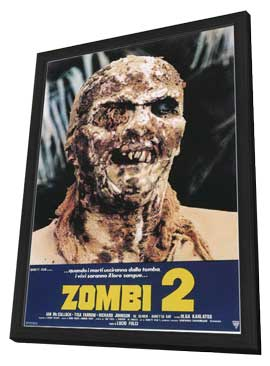 Zombi 2 - 11 x 17 Movie Poster - Italian Style A - in Deluxe Wood Frame