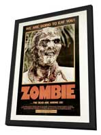 Zombie - 11 x 17 Movie Poster - Style F - in Deluxe Wood Frame