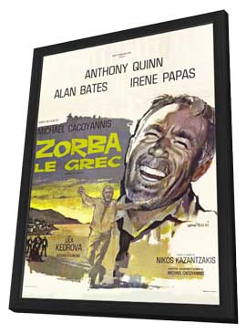 Zorba the Greek - 27 x 40 Movie Poster - French Style A - in Deluxe Wood Frame